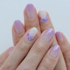紫色の紫陽花ネイル