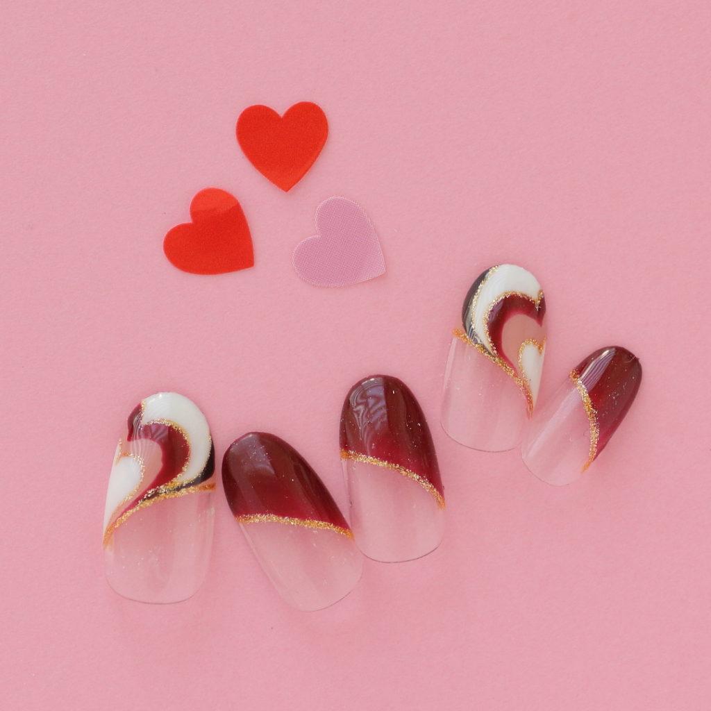 ハートプッチのバレンタインネイル