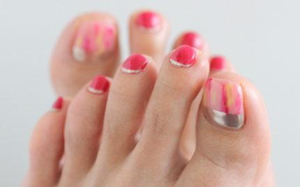 春フット|ピンク&ミラーネイル|新百合ヶ丘ネイルサロン