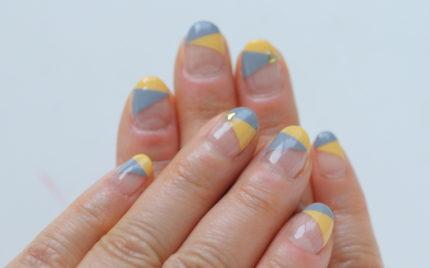 新百合ヶ丘ネイルサロン「ネイルマーナ」春の2色フレンチネイル