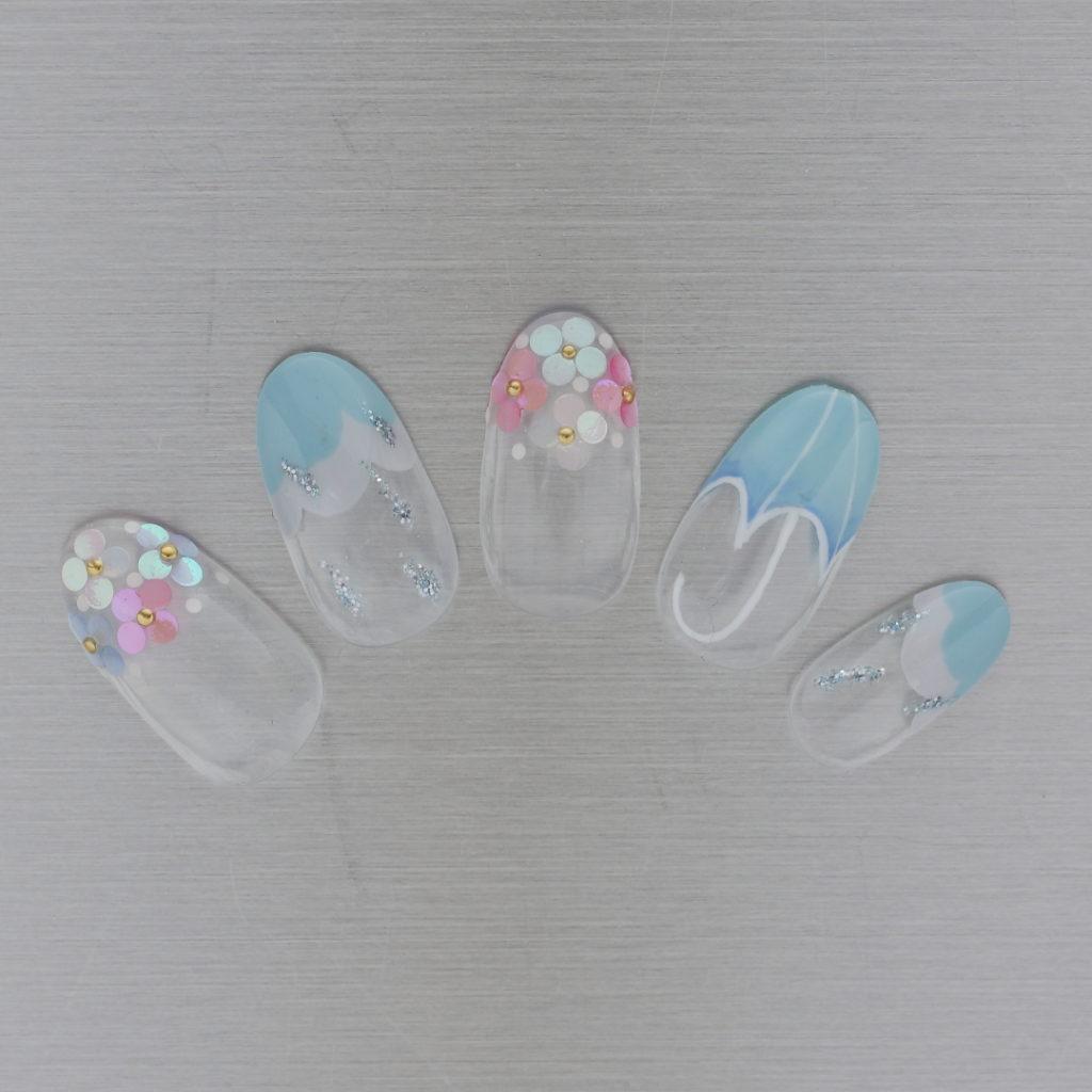 新百合ヶ丘パラジェル&カルジェルネイルサロン「ネイルマーナ」紫陽花ネイル2021
